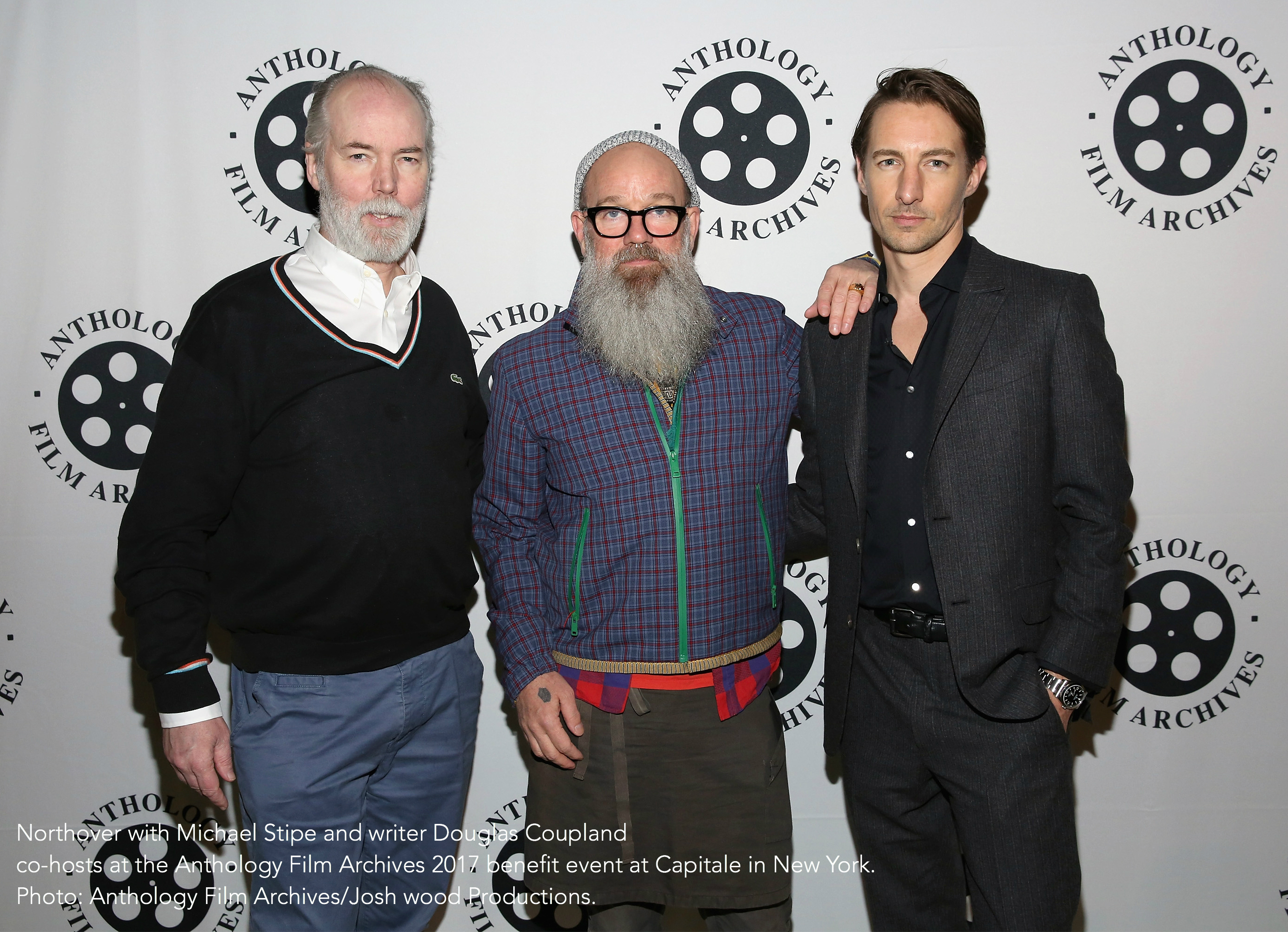 Northover with Michael Stipe and writer Douglas Coupland co-hosts at the Anthology Film Archives 2017 benefit event at Capitale in New York. Photo: Anthology Film Archives/Josh wood Productions.